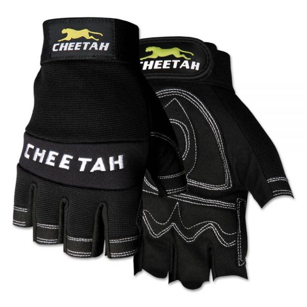 Memphis Cheetah 935CHFL Fingerless Gloves, Medium, Black