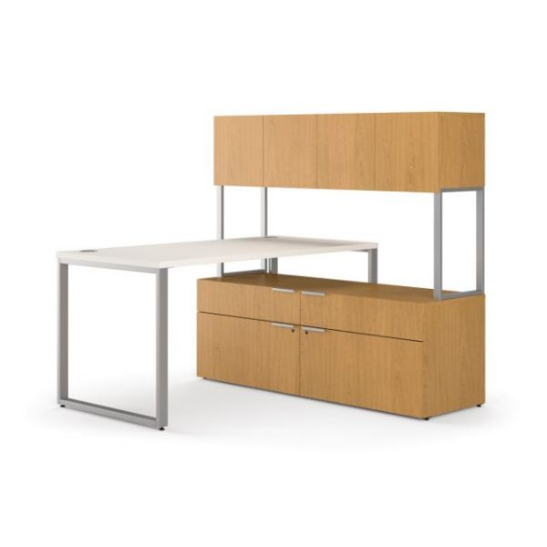 "HON Voi Mixed Material Compact L-Workstation | Desk, Low Credenza, Stack-On Hutch | 60""W x 60""D"