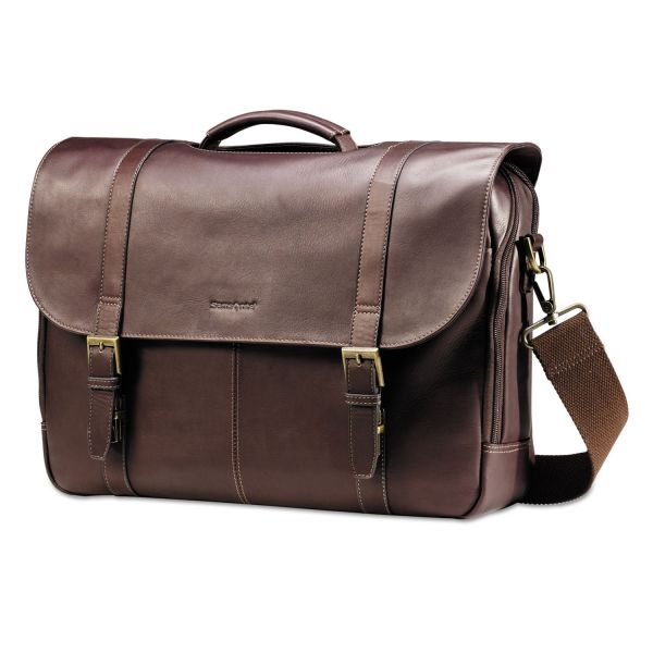 Samsonite Leather Flapover Case, 16 x 6 x 13, Brown