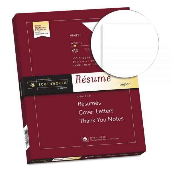Southworth 100% Cotton Resume Paper, 24lb, 95 Bright, 8 1/2 x 11, 100 Sheets