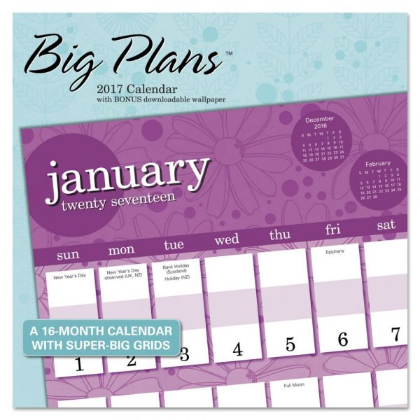 At-A-Glance Landmark Big Plans Monthly Wall Calendar