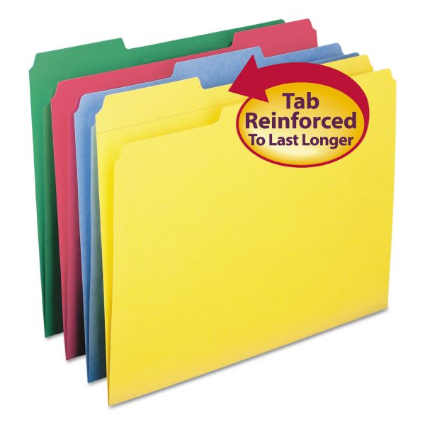 Smead File Folders, 1/3 Cut, Reinforced Top Tabs, Letter, Assorted, 12/Pack