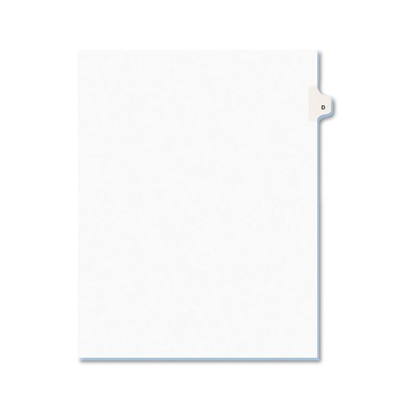 Avery Avery-Style Legal Exhibit Side Tab Dividers, 1-Tab, Title D, Ltr, White, 25/PK