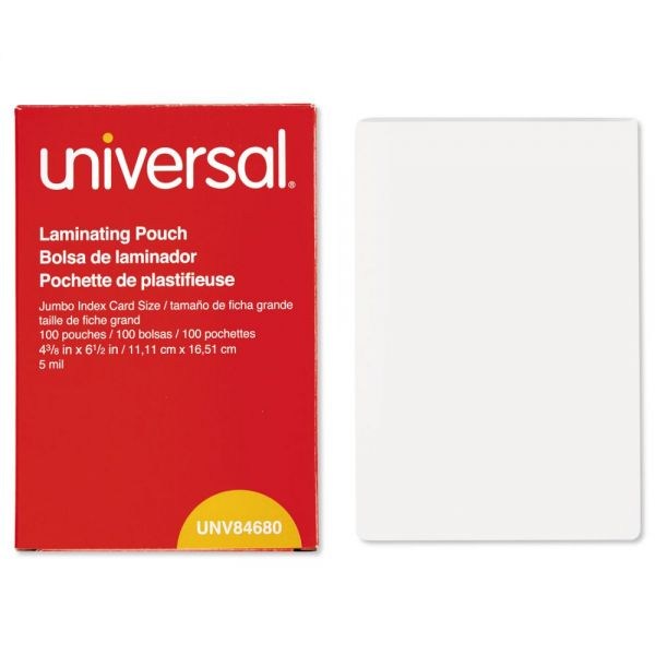 Universal Clear Laminating Pouches, 5 mil, 4 3/8 x 6 1/2, Photo Size, 100/Box