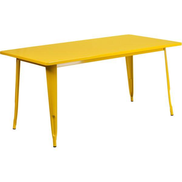 Flash Furniture 31.5'' x 63'' Rectangular Yellow Metal Indoor-Outdoor Table