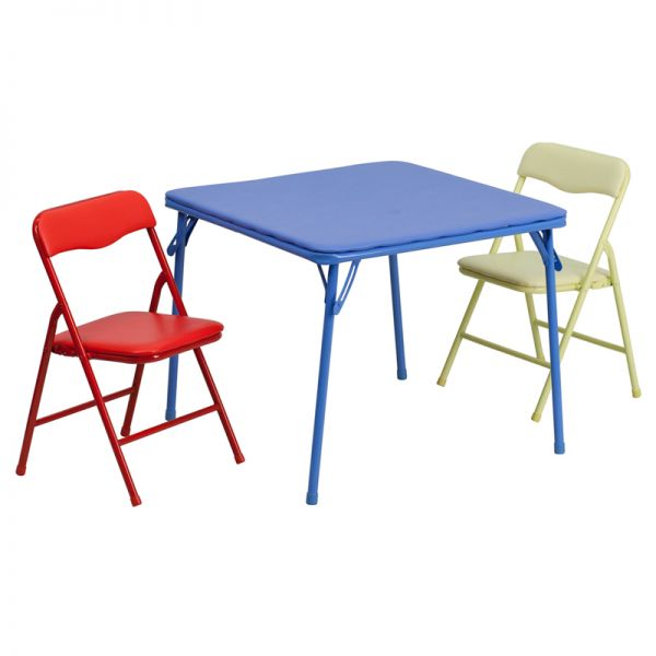 Flash Furniture Kids Colorful 3 Piece Folding Table and Chair Set