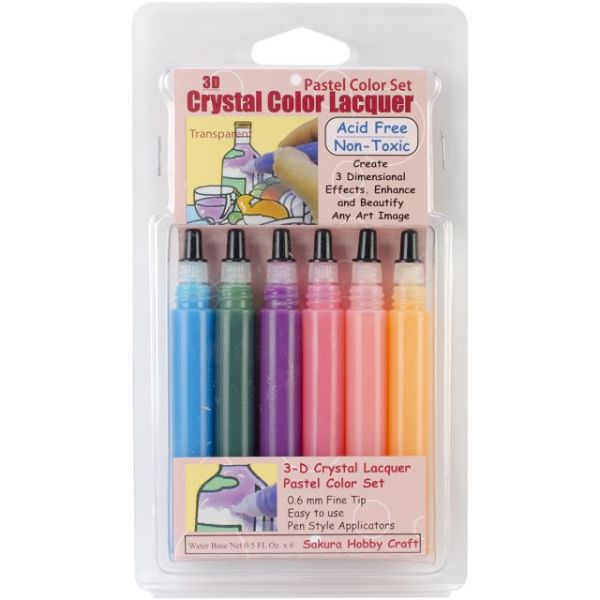 3D Crystal Lacquer Color Pens 6/Pkg