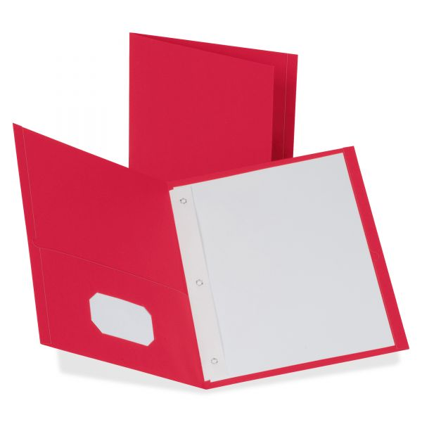 "Oxford Twin-Pocket Folders with 3 Fasteners, Letter, 1/2"" Capacity, Red, 25/Box"