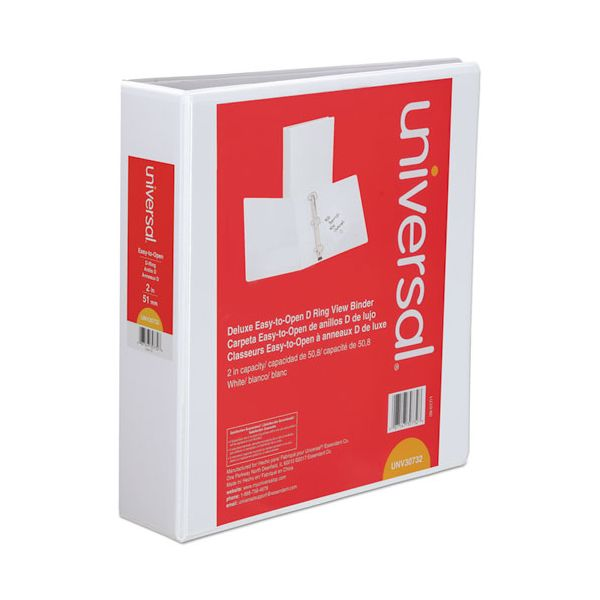"""Universal Deluxe Easy-to-Open 3-Ring View Binder, 2"""" Capacity, D-Ring, White"""