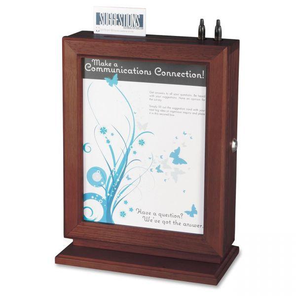 Safco Customizable Wood Suggestion Box, 10 1/2 x 5 3/4 x 14 1/2, Mahogany