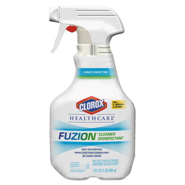Clorox Healthcare Fuzion Cleaner Disinfectant, Unscented, 32 oz Spray Bottle, 9/Carton