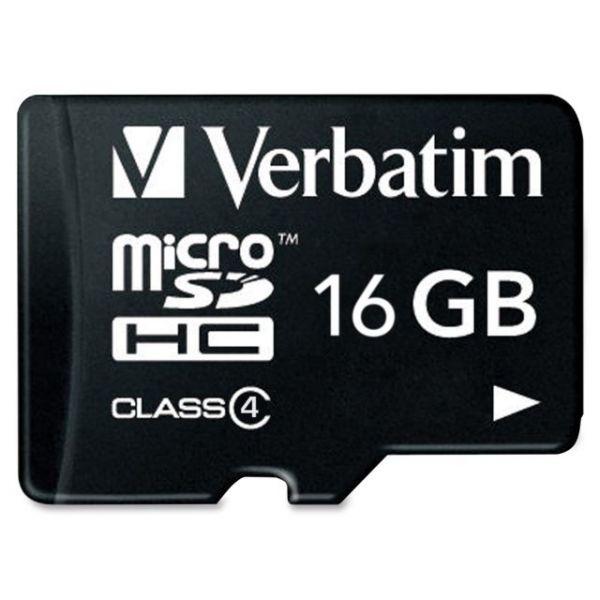 Verbatim 16GB MicroSDHC Memory Card with Adapter, Class 4