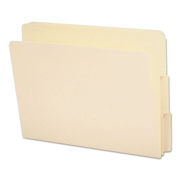 Smead End Tab File Folder, 1/3 Tab, Assorted, Letter, Manila, 100/Box
