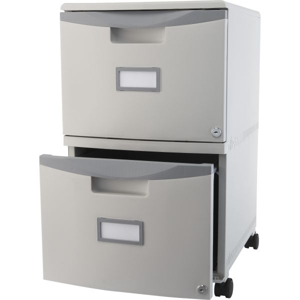 Storex Two-Drawer Mobile Filing Cabinet, 14-3/4w x 18-1/4d x 26h, Gray