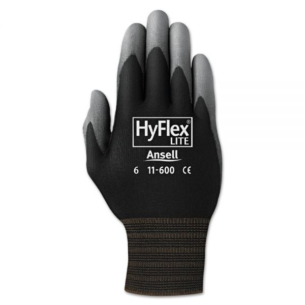 AnsellPro HyFlex Lite Gloves, Black/Gray, Size 11, 12 Pairs