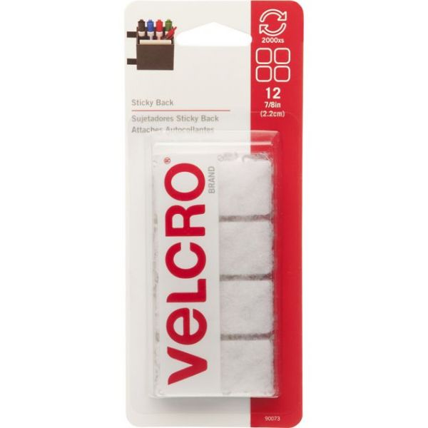 "VELCRO Brand STICKY BACK Squares 7/8"" 12/Pkg"