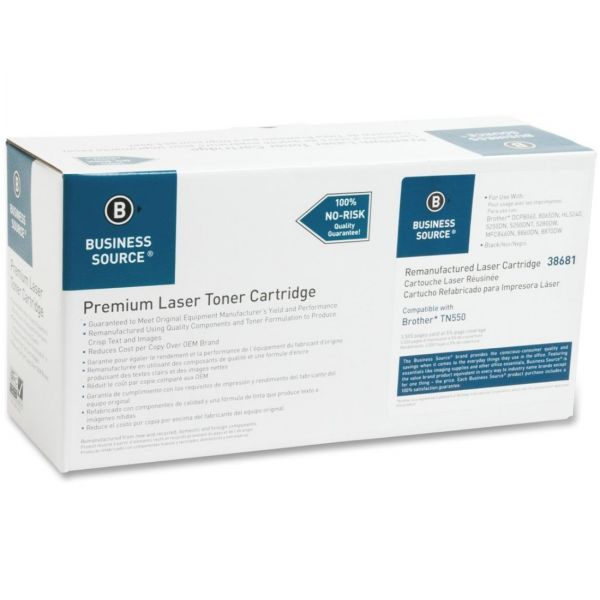 Business Source Remanufactured Brother TN550 Black Toner Cartridge
