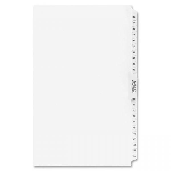 Kleer-Fax 80000 Series Side Tab Legal Size Legal Index Dividers