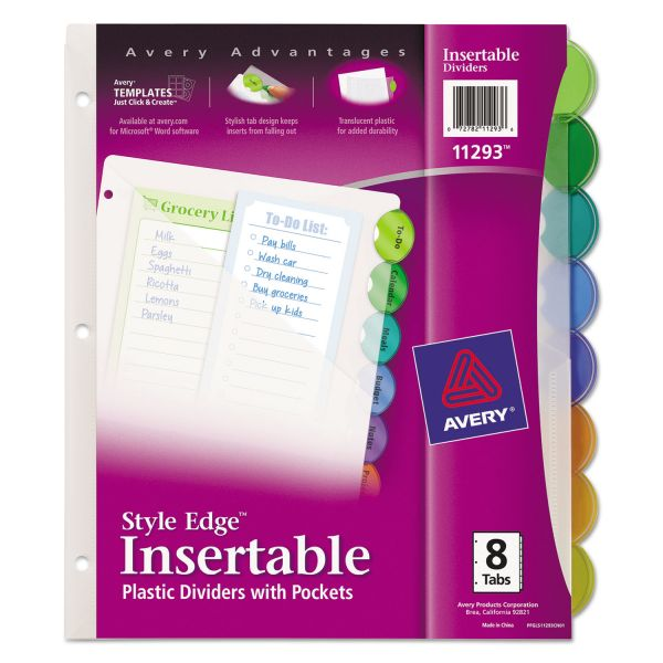 Avery Style Edge Insertable Tab Index Dividers with Pockets
