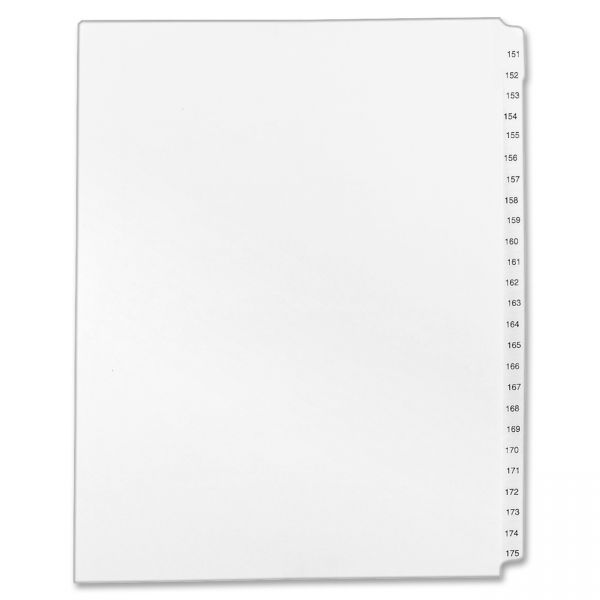 Avery Allstate-Style Legal Exhibit Side Tab Dividers, 25-Tab,151-175, Letter, White