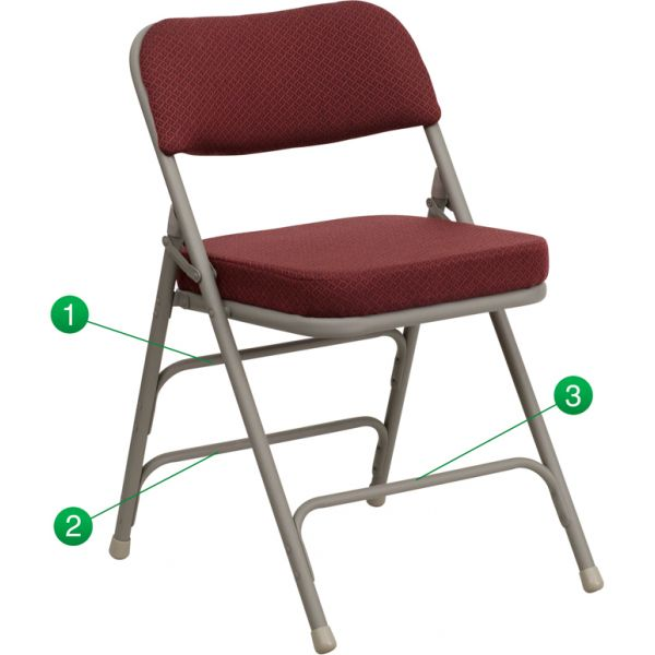 Flash Furniture HERCULES Series Premium Curved Triple Braced & Quad Hinged Burgundy Fabric Upholstered Metal Folding Chair [HA-MC320AF-BG-GG]