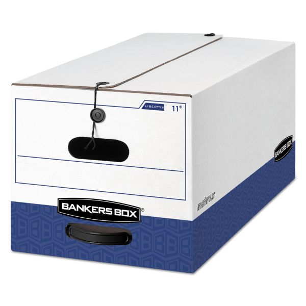 Bankers Box LIBERTY Heavy-Duty Strength Storage Box, Letter, 12 x 24 x 10, White/Blue, 12/CT