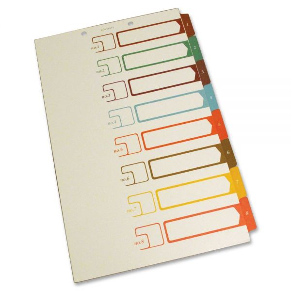 S J Paper Legal Size Table of Contents Index Dividers