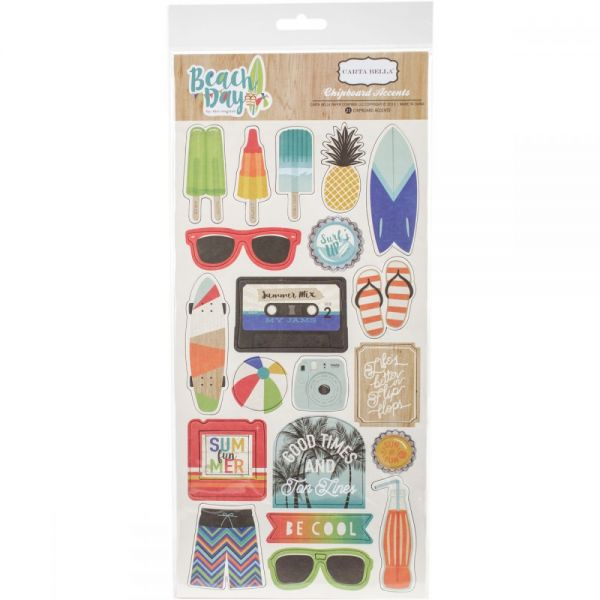"""Beach Day Chipboard Accents 6""""X13"""""""