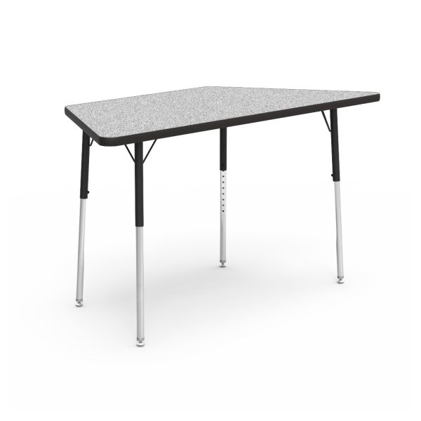 Virco 4000 Series Trapezoid Activity Table, 60w x 30d x 30h, Gray Nebula/Chrome
