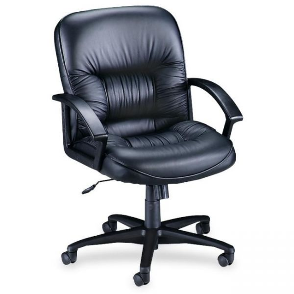 Lorell Leather Tufted Mid-Back Office Chair