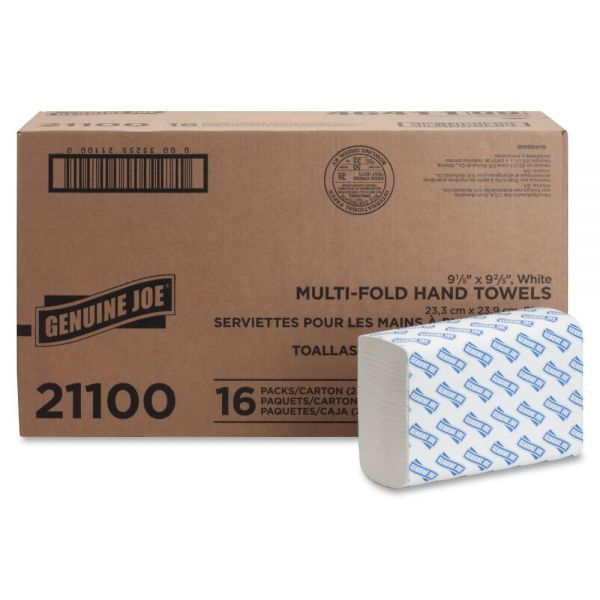 "Genuine Joe Multifold Paper Towels, 9.10"" x 9.50"", White, 250 Sheets/Pack, 16 Packs/Carton"