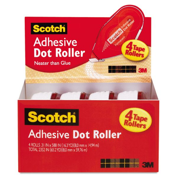 Scotch Adhesive Dot Roller Value Pack, 0.3 in x 49 ft., 4/PK