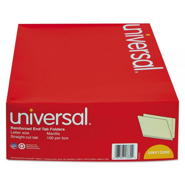 Universal Reinforced Letter Size End Tab File Folders