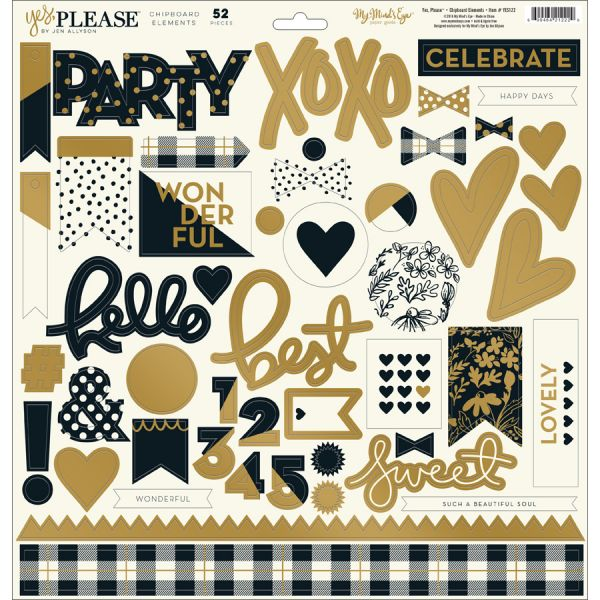 "Yes, Please Chipboard Elements 12""X12"""