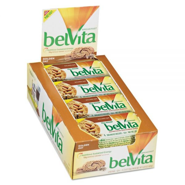 Nabisco belVita Breakfast Biscuits, 1.76 oz Pack, Golden Oat, 64/Carton