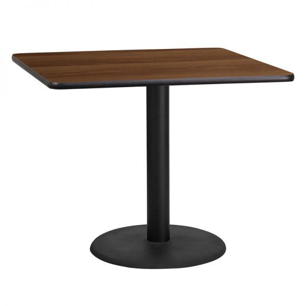 Flash Furniture 36'' Square Walnut Laminate Table Top with 24'' Round Table Height Base