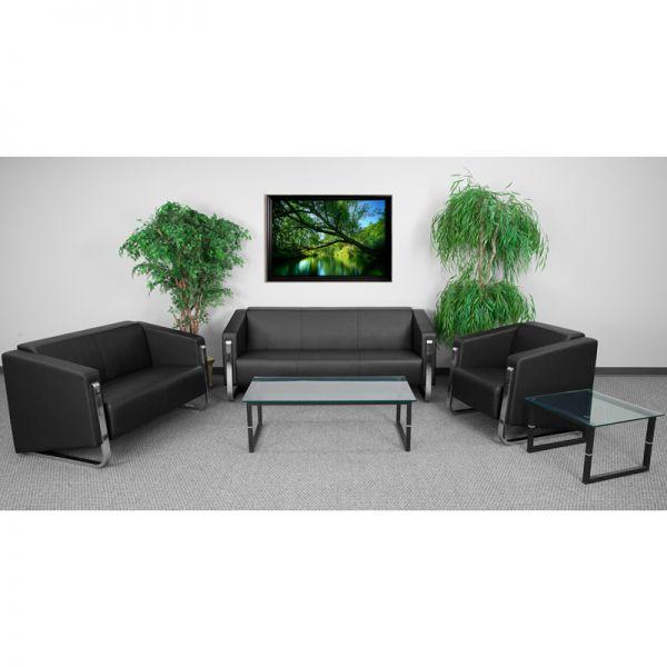 Flash Furniture HERCULES Gallant Series Reception Set in Black