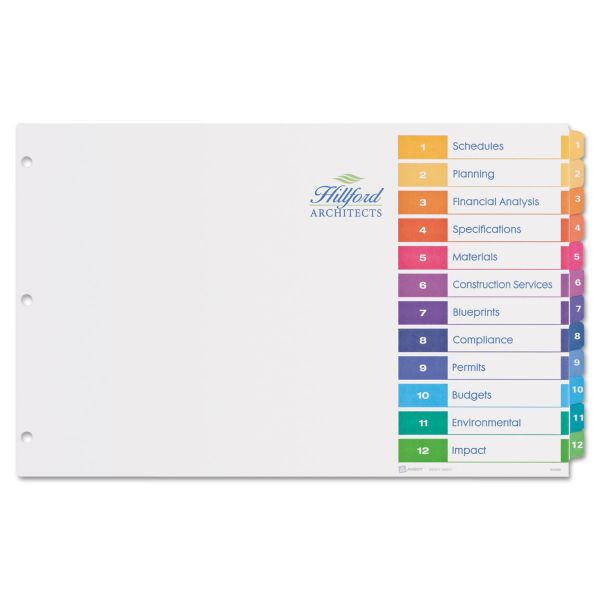 "Avery Ready Index Table/Contents 11"" x 17"" Tab Dividers"