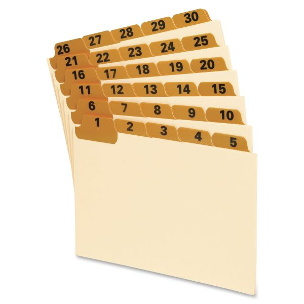 Oxford Laminated Tab Index Card Guides, Daily, 1/5 Tab, Manila, 4 x 6, 31/Set
