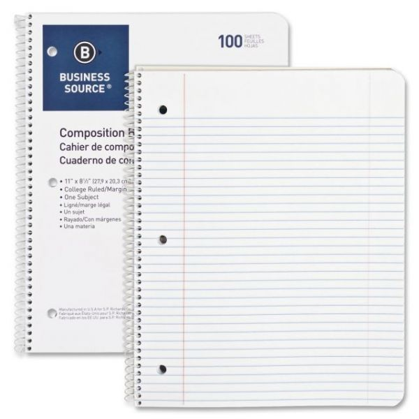 Business Source Wirebound College Ruled Notebooks - Letter