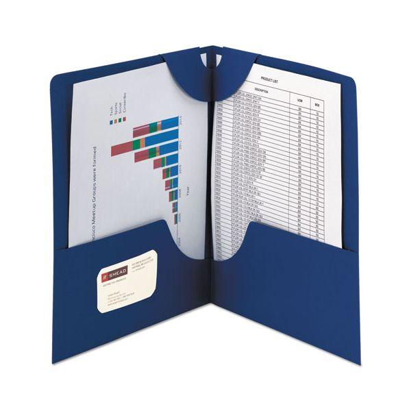 Smead Lockit Two-Pocket Folder, Textured Paper, 11 x 8 1/2, DK Blue, 25/BX