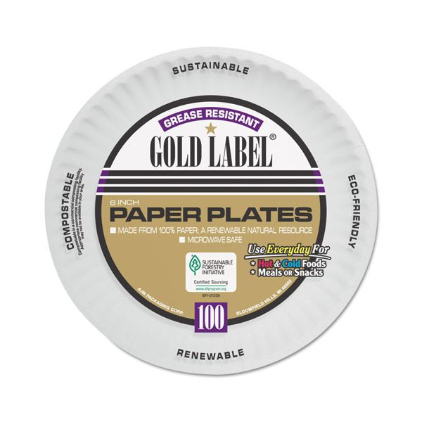AJM Packaging Corporation Coated Paper Plates, 6 Inches, White, Round, 100/Pack