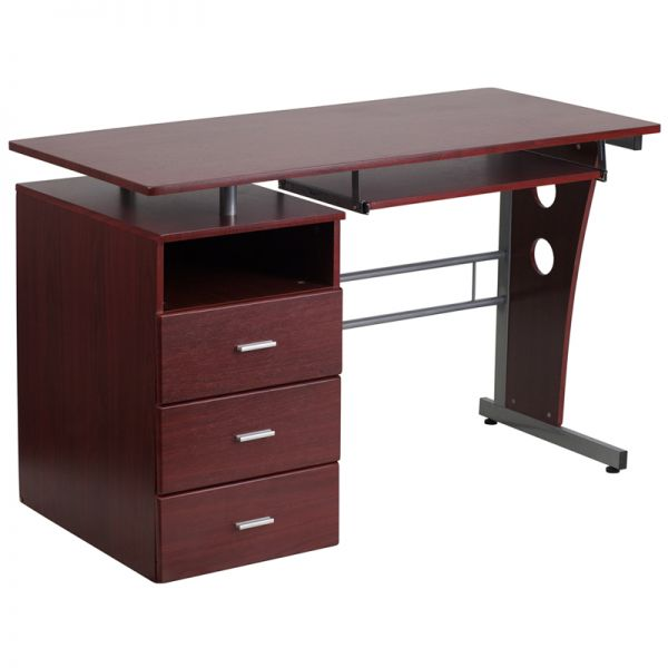 Flash Furniture Mahogany Desk with Three Drawer Pedestal and Pull-Out Keyboard Tray