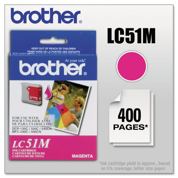 Brother LC51M Innobella Ink, 400 Page-Yield, Magenta