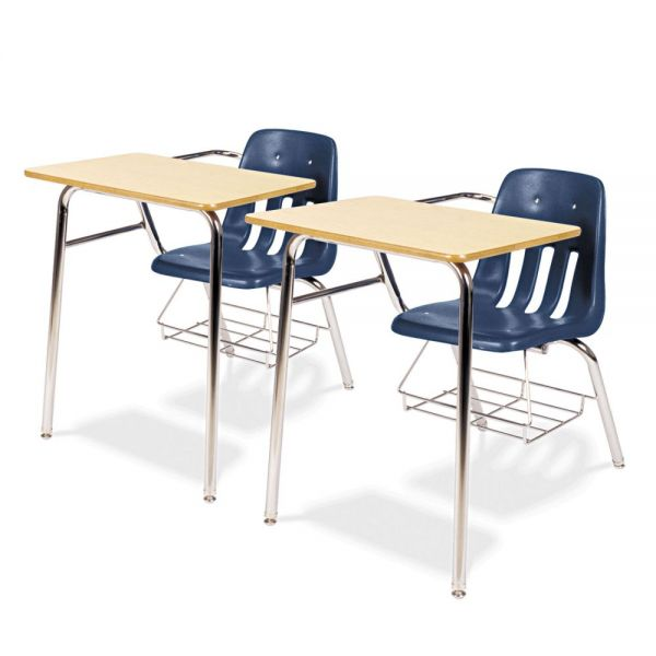 Virco 9400 Series Chair Desk, 21w x 33-1/2d x 30h, Fusion Maple/Navy, 2/Carton