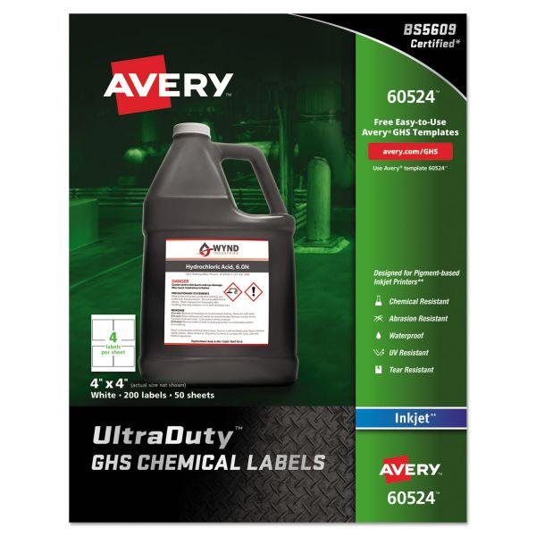 "Avery UltraDuty GHS Chemical Labels for Pigment Inket Printers, Waterproof, UV Resistant, 4""x 4"", 200 Pack (60524)"