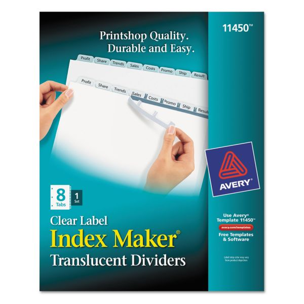 Avery Index Maker Print & Apply Clear Label Plastic Dividers, 8-Tab, White Tab, Letter, 1 Set