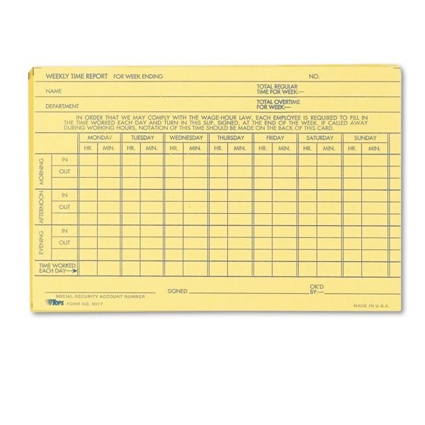 TOPS Employee Time Report Card, Weekly, 6 x 4, 100/Pack