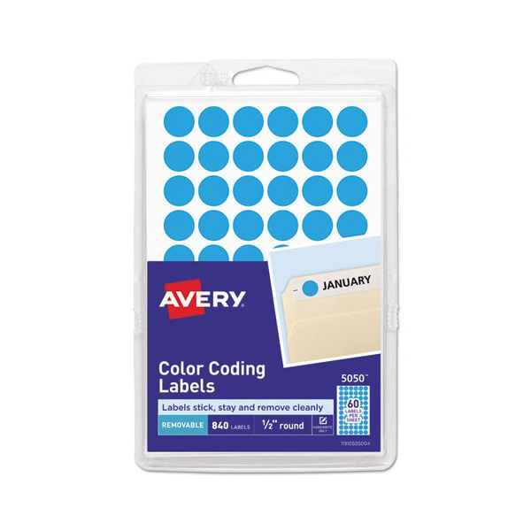 """Avery Handwrite Only Removable Round Color-Coding Labels, 1/2"""" dia, Light Blue, 840/PK"""