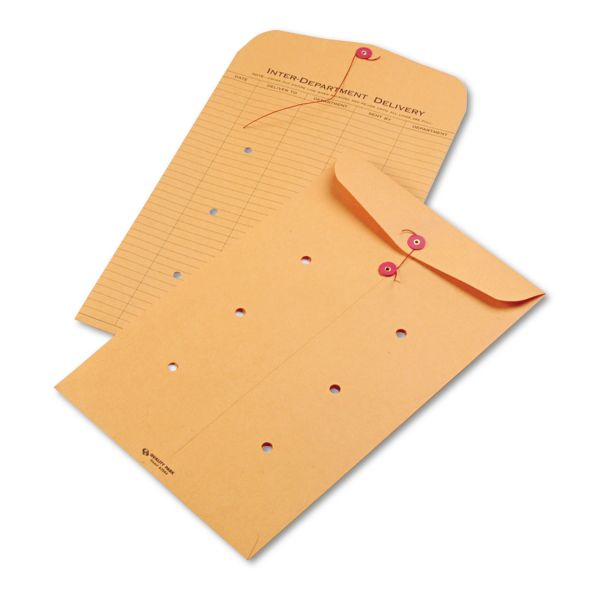 Quality Park Brown Kraft String & Button Interoffice Envelope, 10 x 15, 100/Carton
